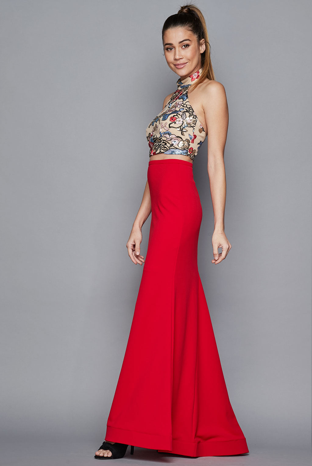 Teeze Me |  Two Piece Halter Sequin Embroidered Top With Long Trumpet Skirt Dress  | Red/Tan