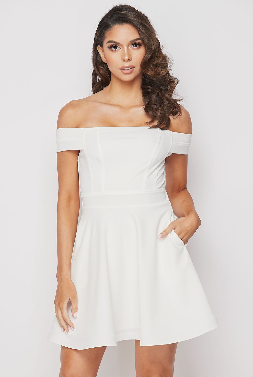 Teeze Me | Off Shoulder Skater Dress With Pockets | White