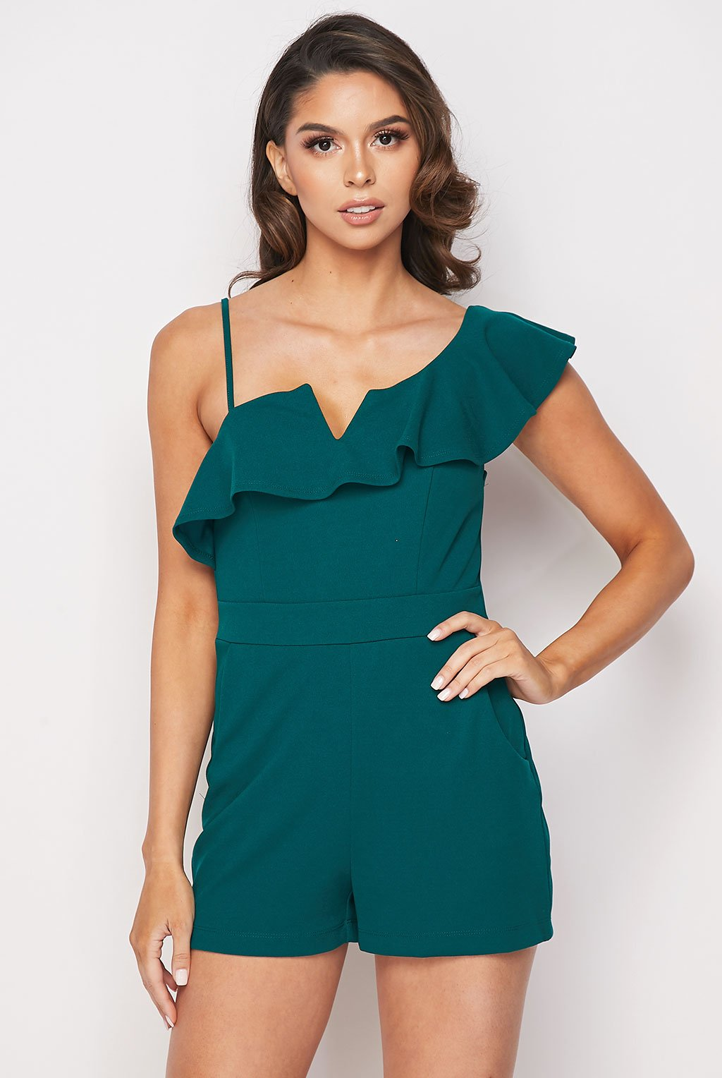 Teeze Me | Ruffle One Shoulder Romper With Pockets | Jade
