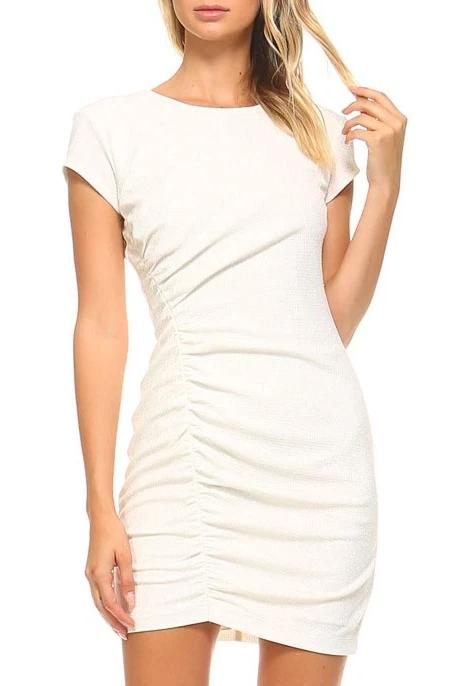 Teeze Me | Cap Sleeve Round Neck Glitter Knit Shirred Dress  | White/Gold