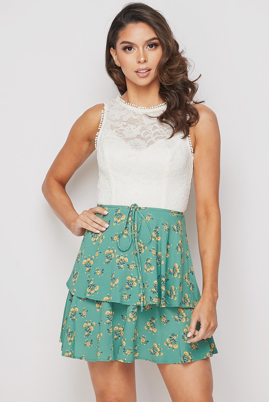 Teeze JMe | Flowers And Lace Tier Dress | Green/Ivory