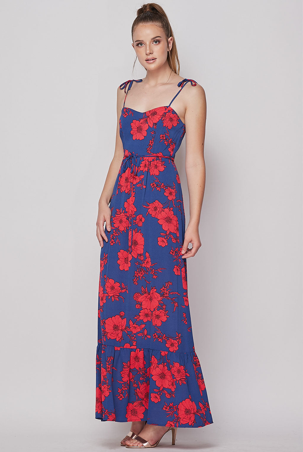 Teeze Me | Sleeveless Floral Printed Maxi Dress | Royal Red