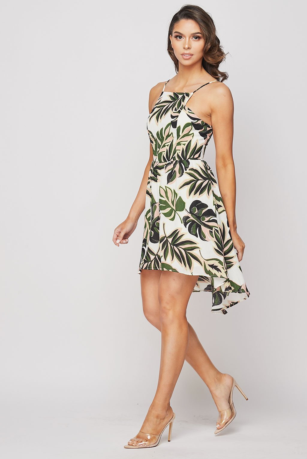 Teeze Me | Tropical Foliage Printed Dress | Off White/Green