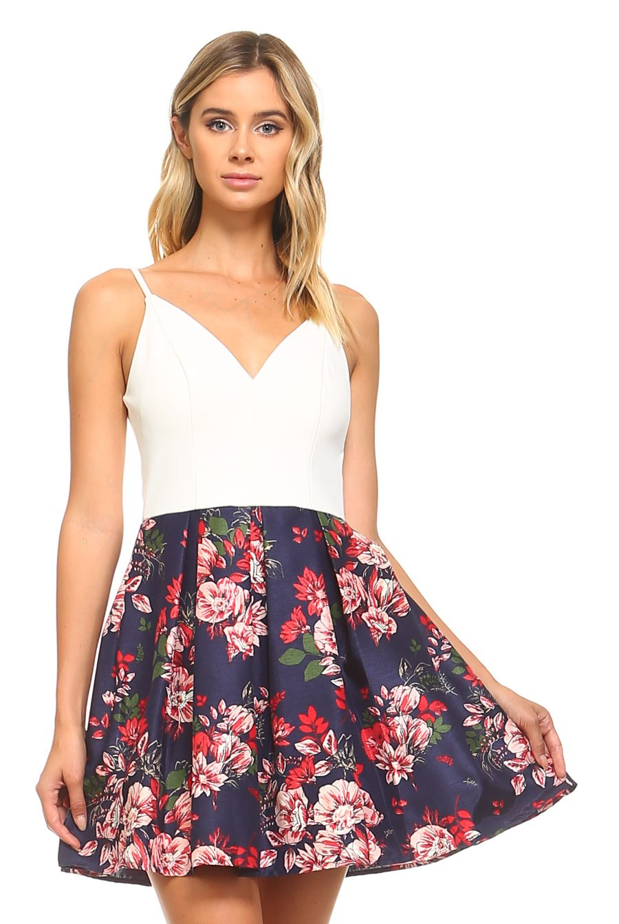 Teeze Me | Sweetheart Pleated Floral Skirt Dress  | Off-White/Navy