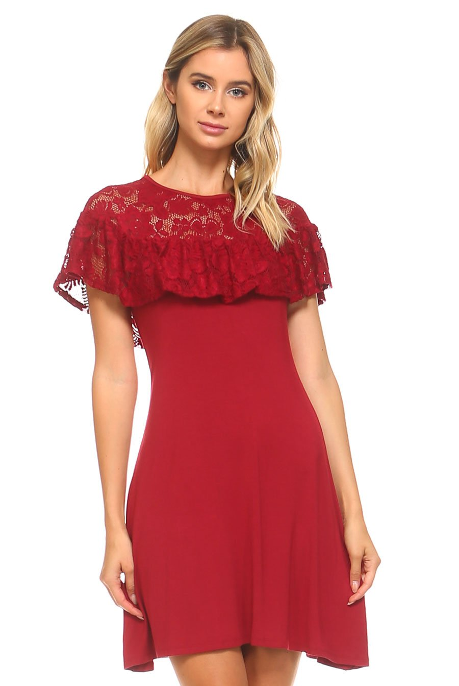 Teeze Me | Short Sleeve Illusion Top Ruffle A-Line Dress  | Berry