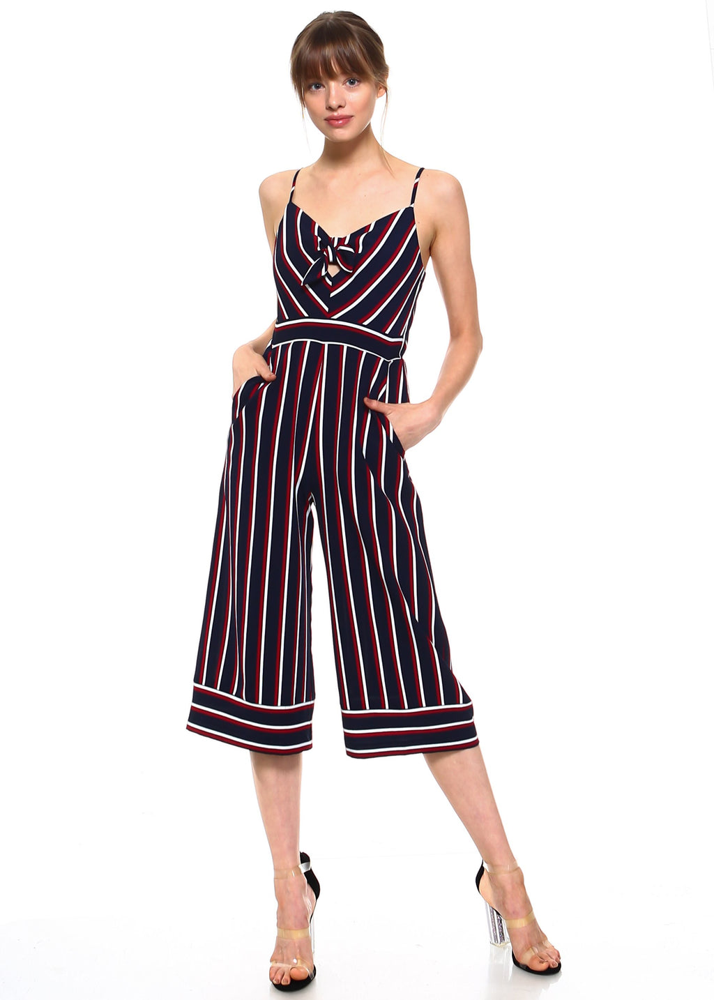 Teeze Me | Spaghetti Strap Stripe Printed Jumper | Navy/Red