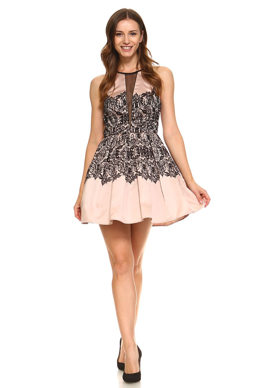 Teeze Me | Illusion V Front Flocked Print Pleated Dress | Black/Taupe