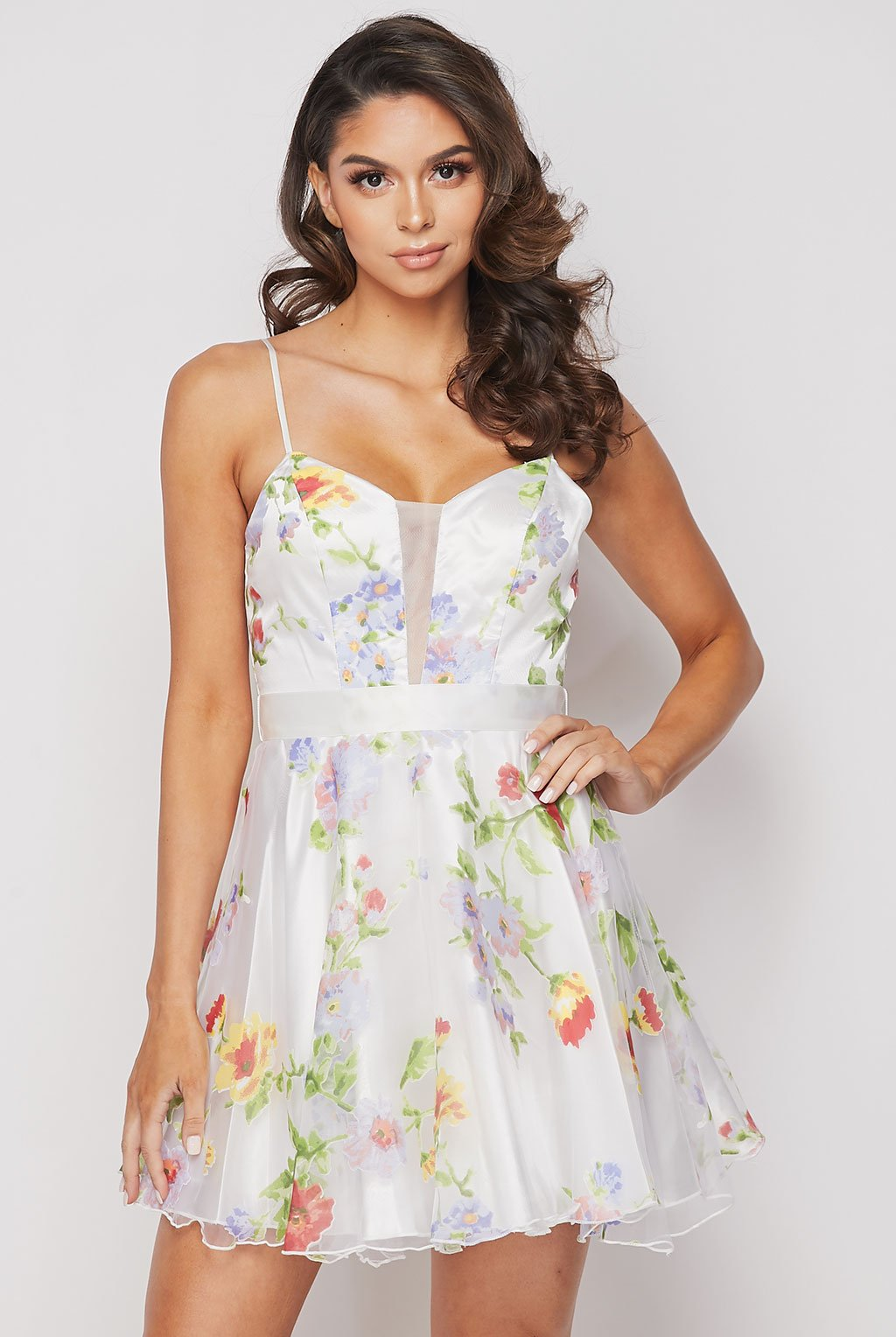 Teeze Me | Floral Print Organza Fit And Flare Skater Dress | White Multi