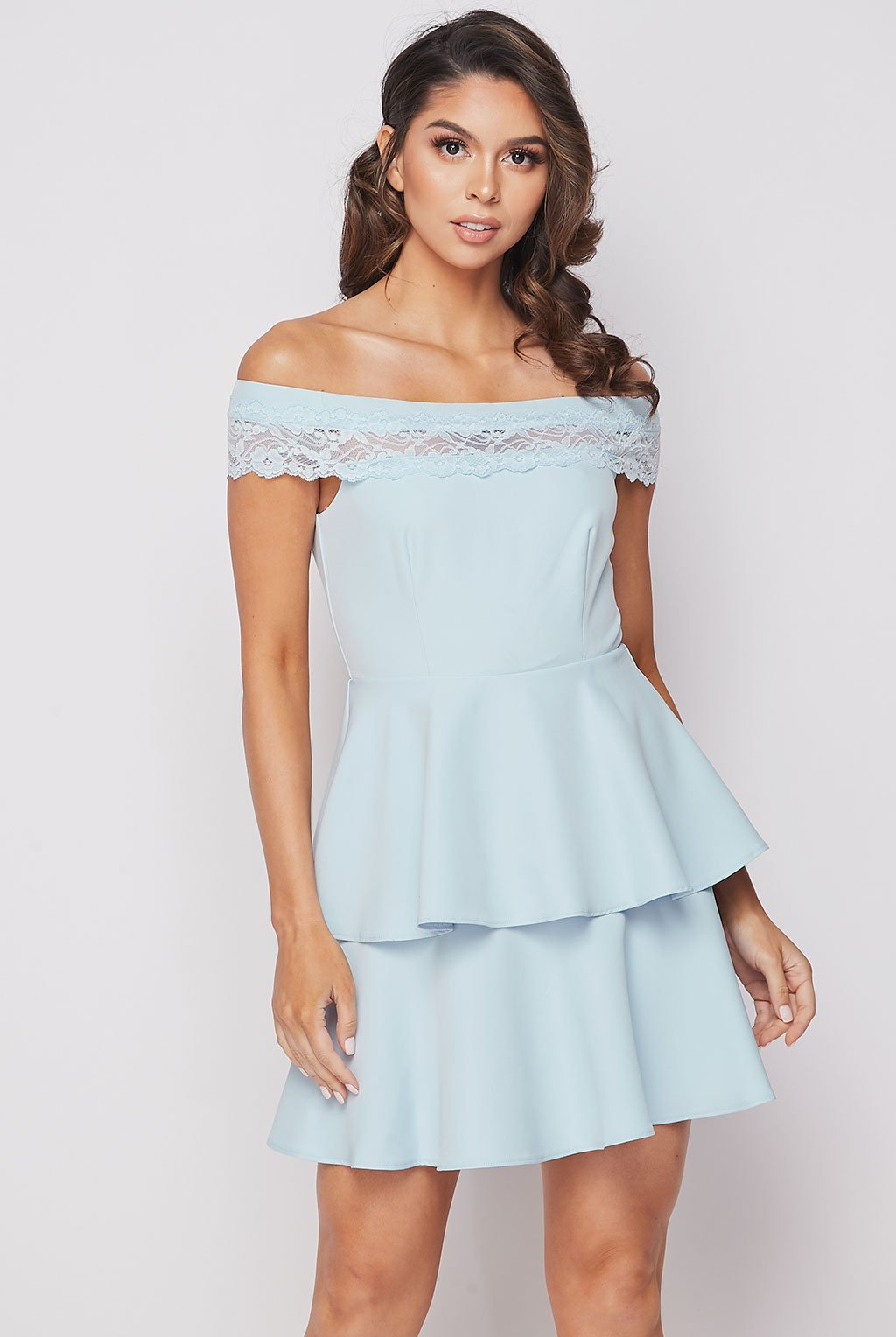 Teeze Me | Off Shoulder Lace Strap Tier Skirt Dress | Light Blue