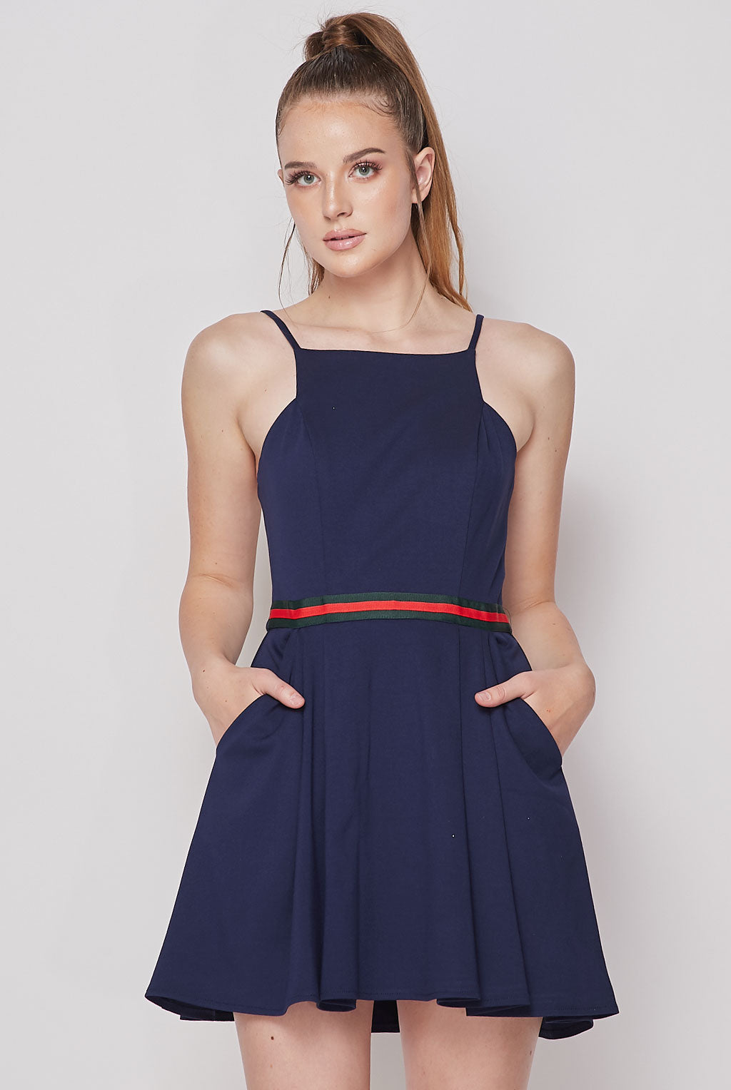 Teeze Me | Halter Top Skirt Pocket Fit And Flare Dress | Navy
