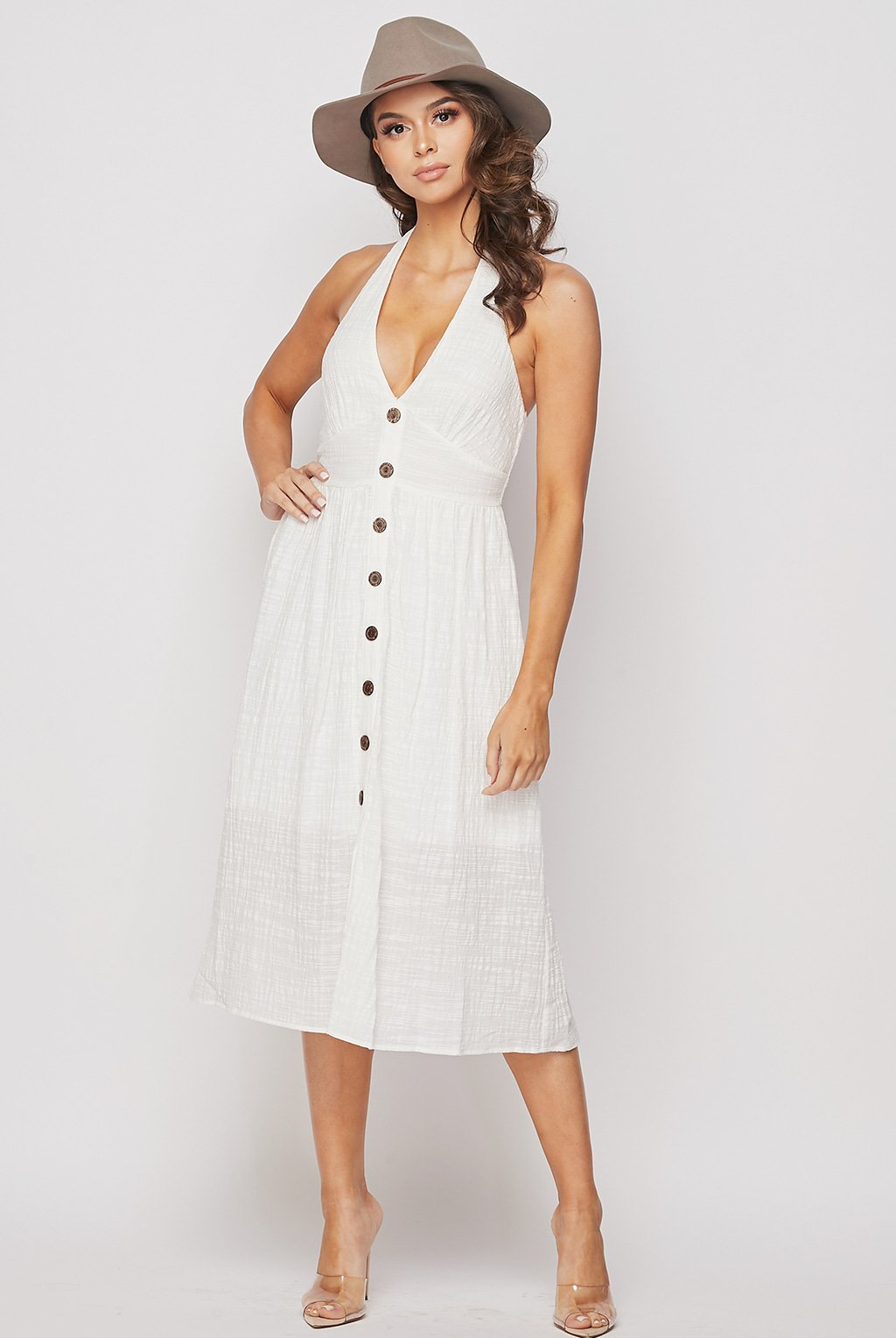 Teeze Me | Halter Button Down Midi Dress | Off White