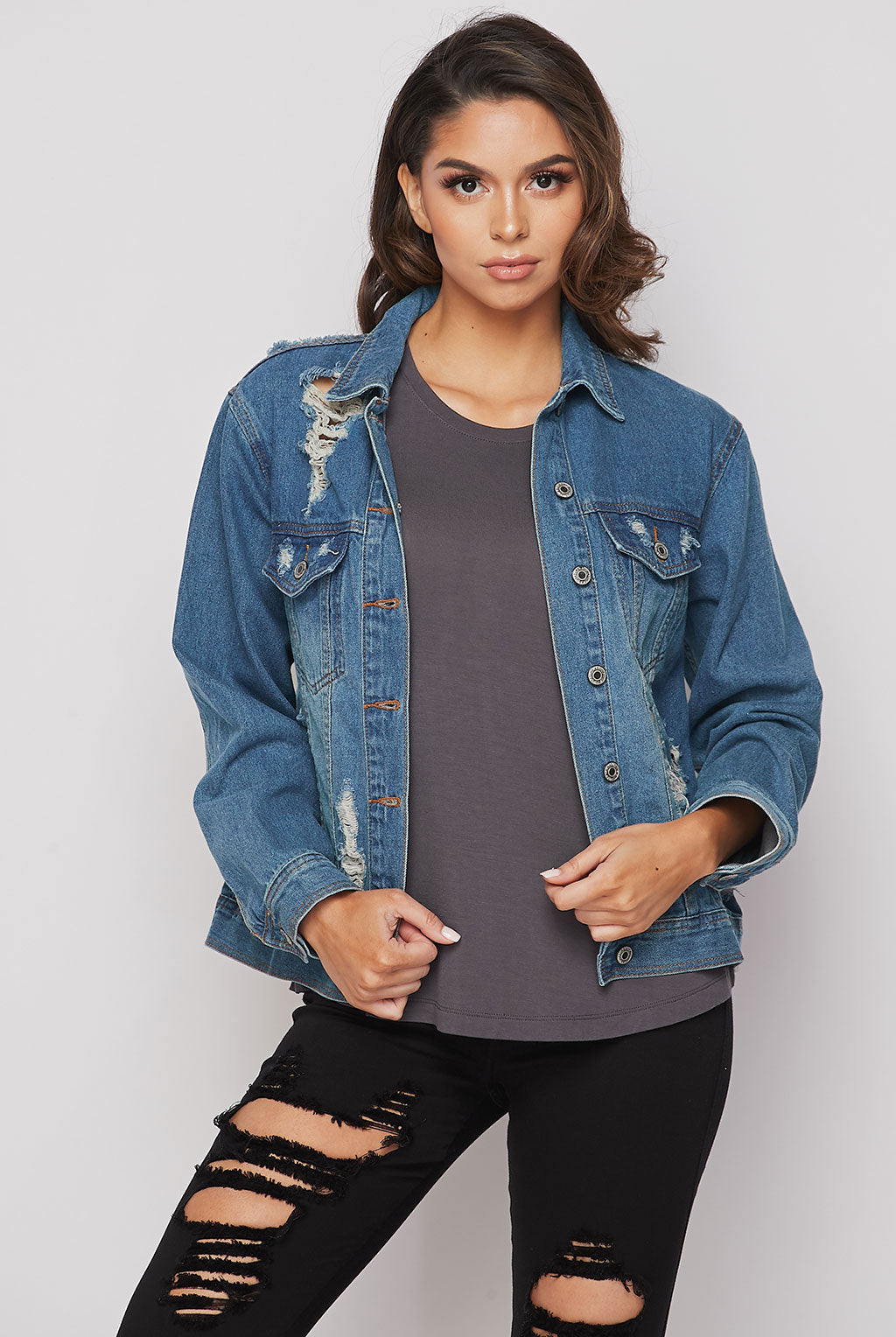Teeze Me | Distressed Boyfriend Jacket | Denim