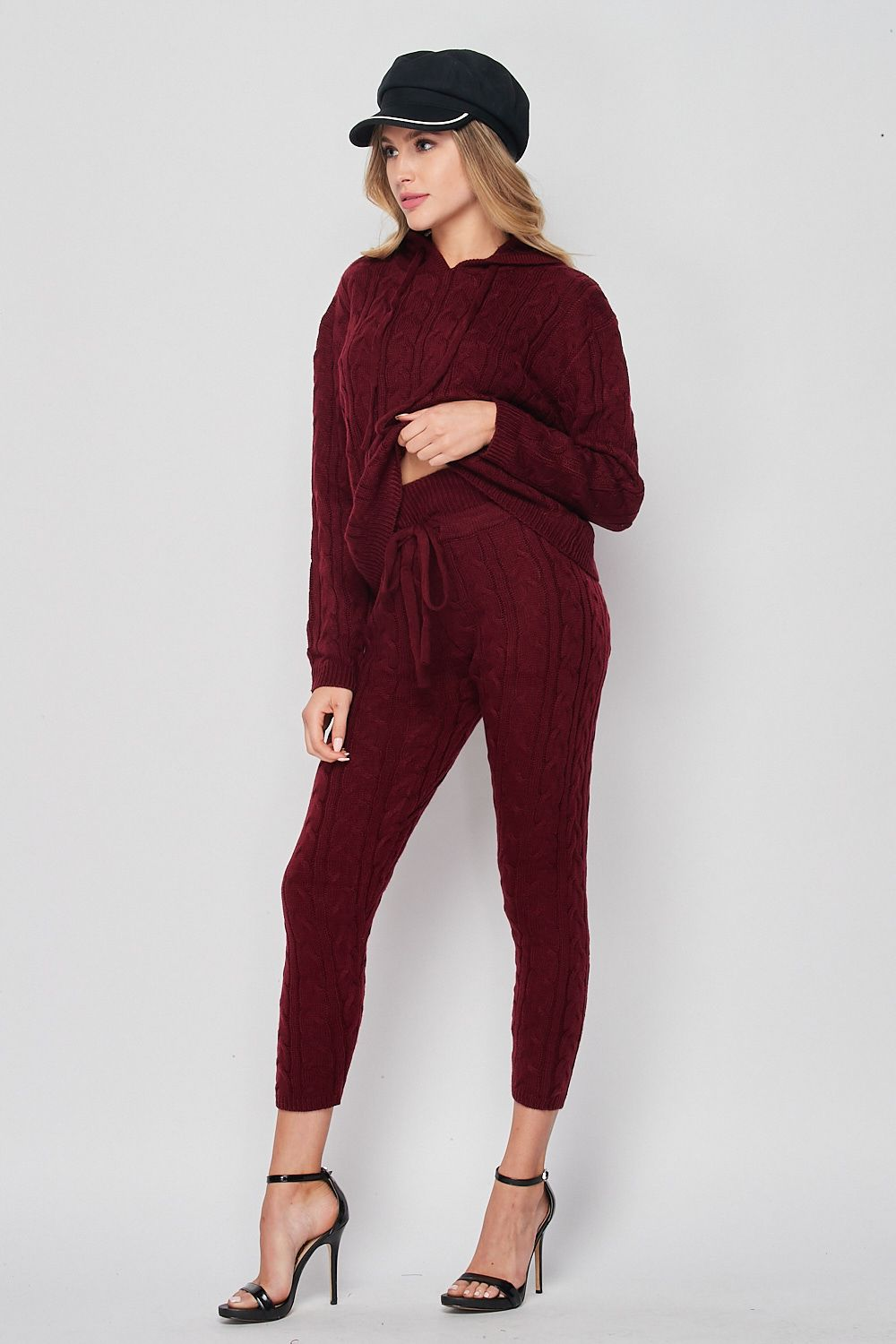 Blank Lewks | Irene Cable Knit Sweater And Jogger Set | Burgundy