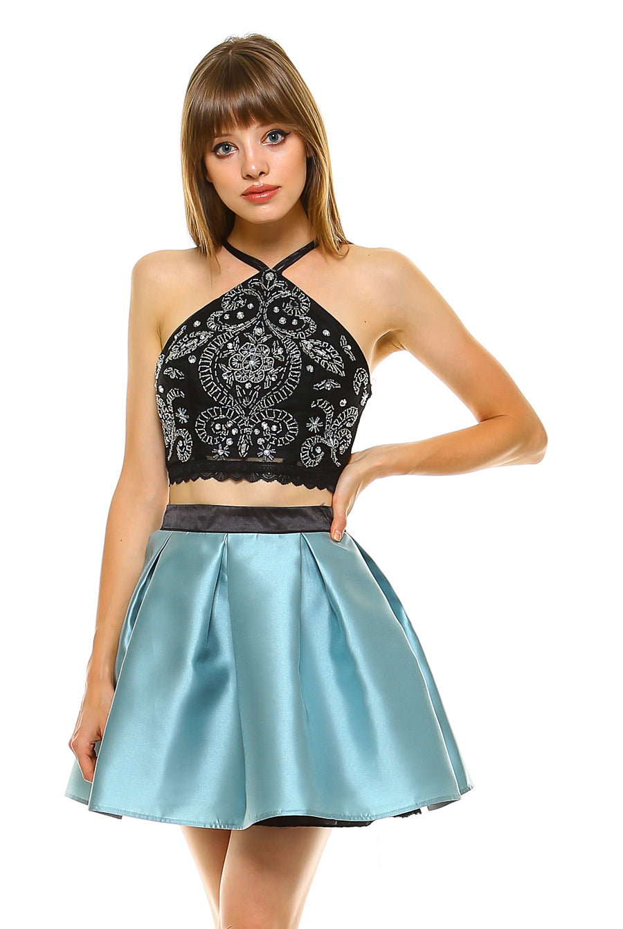 Teeze Me | Two-Piece Halter Beaded Crop Top and Pleated Party Dress | Black/Seafoam