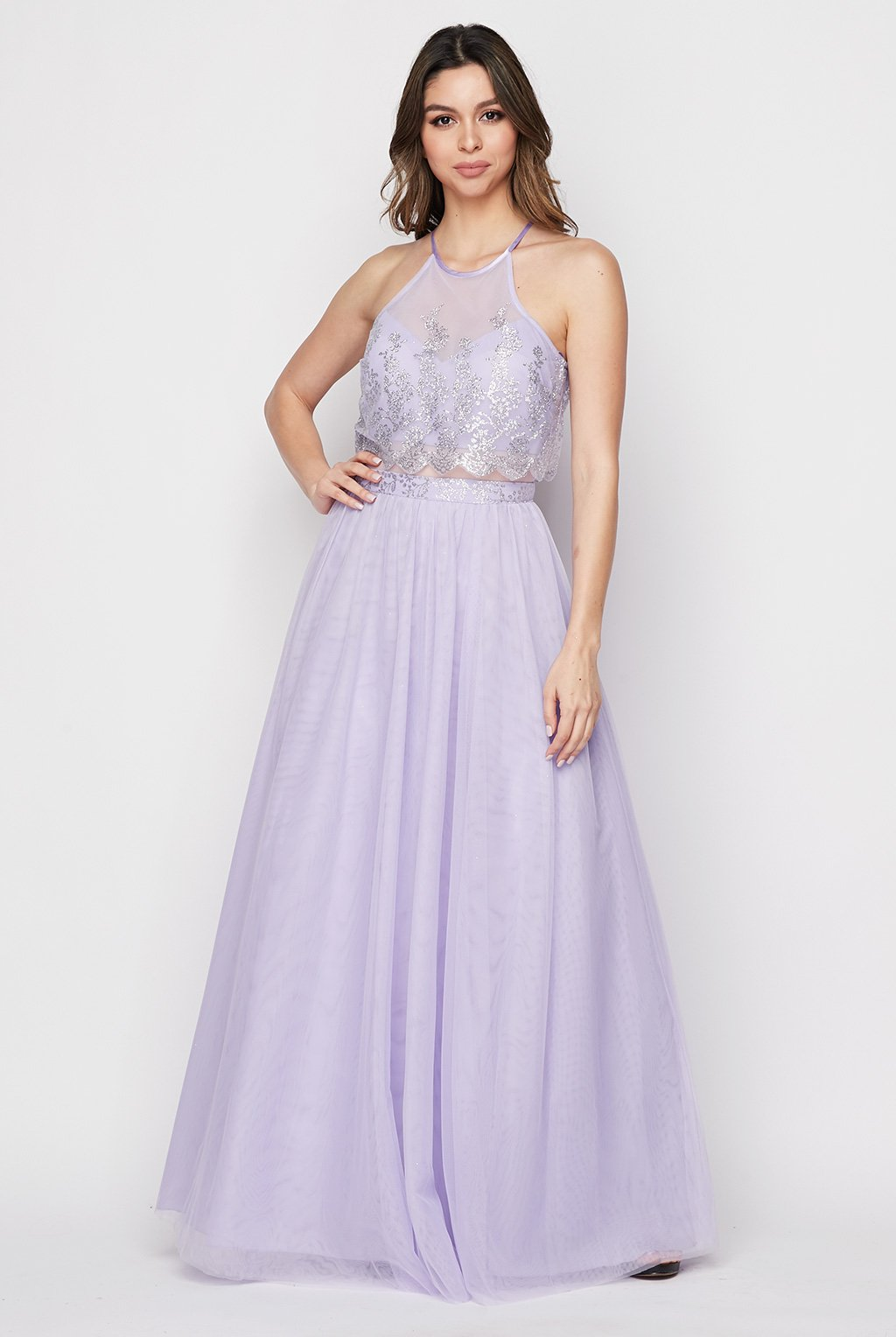 Teeze Me | Sleeveless Halter Glitter Embellished Illusion Popover Top Long Dress | Lilac/Silver