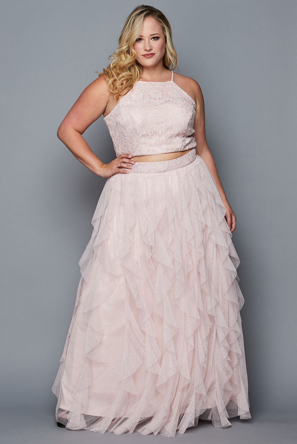 Teeze Me | Two Piece Glitter Ruffle Long Dress Plus | Blush