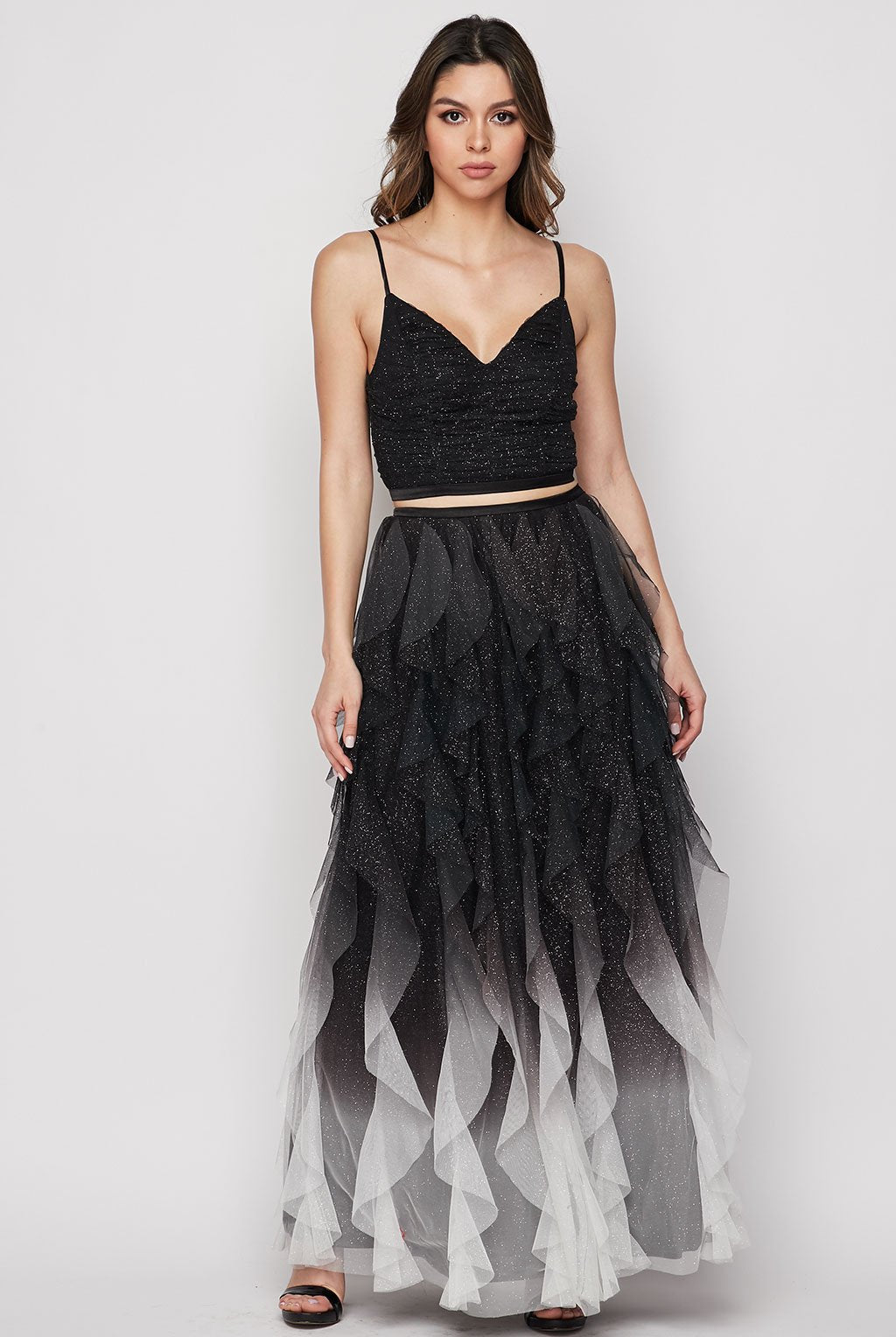 Teeze Me | Sweetheart Glitter Mesh Petal Ruffle Ombre Two Piece Dress  | Black/Off-White