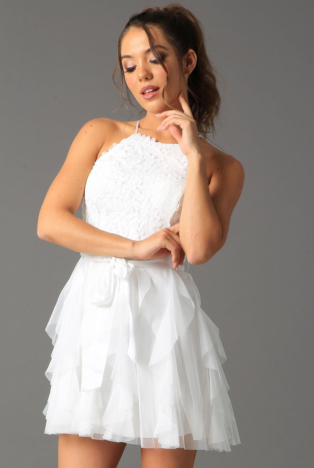 Teeze Me | Halter Top Glitter Ruffle Dress  | Off-White - Teeze Me