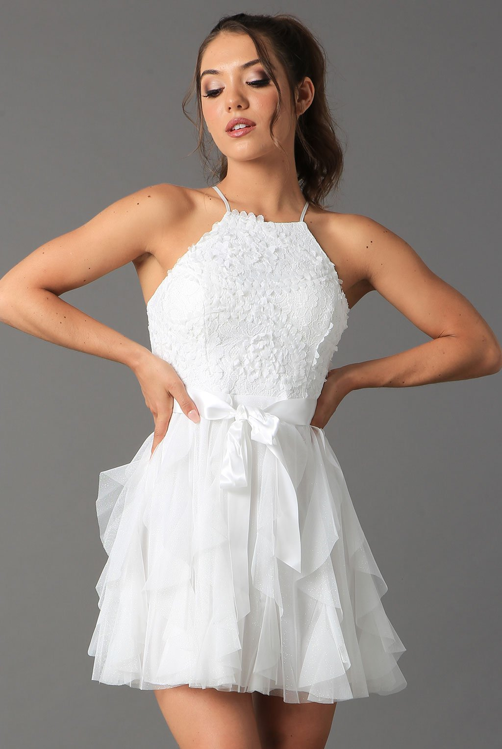 Teeze Me | Halter Top Glitter Ruffle Dress  | Off-White