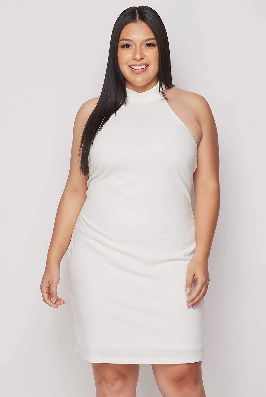 Teeze Me | Halter Top Fitted Short Dress Plus | Off White