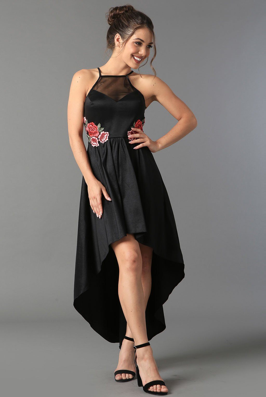 Teeze Me | Halter Embroidered High-Low Dress | Black - Teeze Me Juniors Apparel