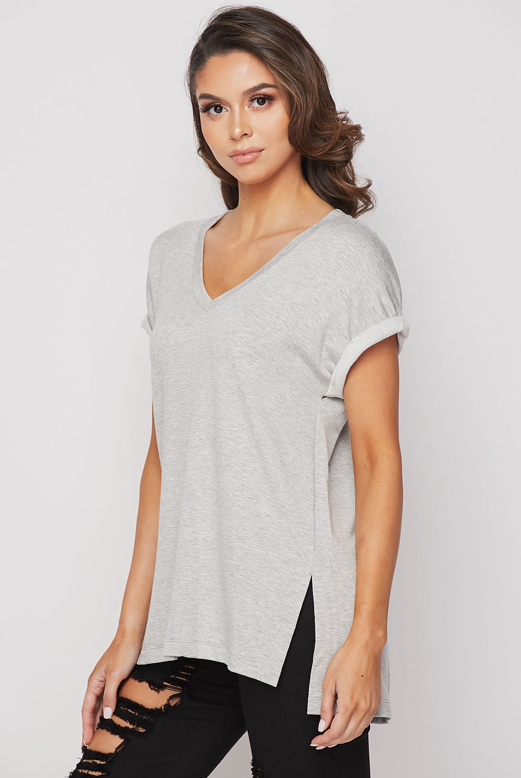 Teeze Me | V-Neck Rolled Sleeve Tee | Grey