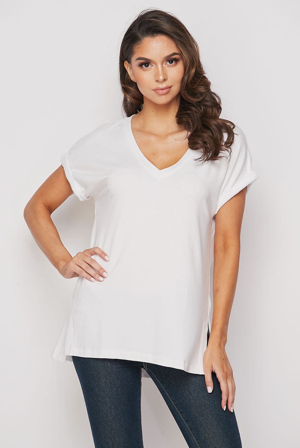 Teeze Me | V-Neck Rolled Sleeve Tee | White