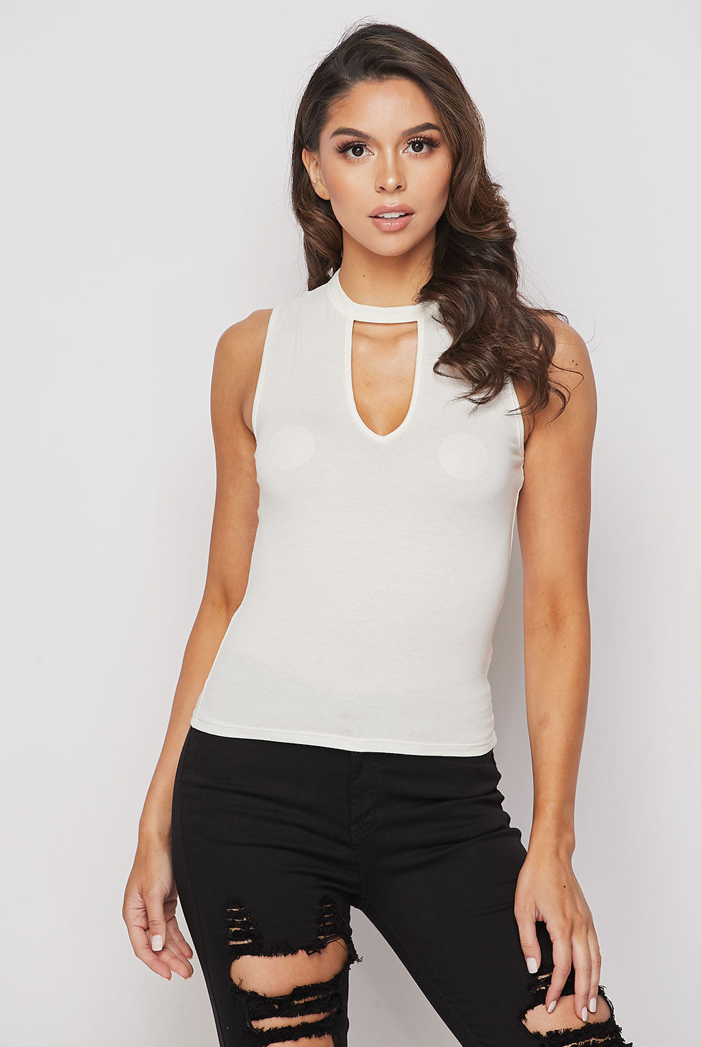 Teeze Me | Sleeveless Mock Neck Cutout Top | Ivory