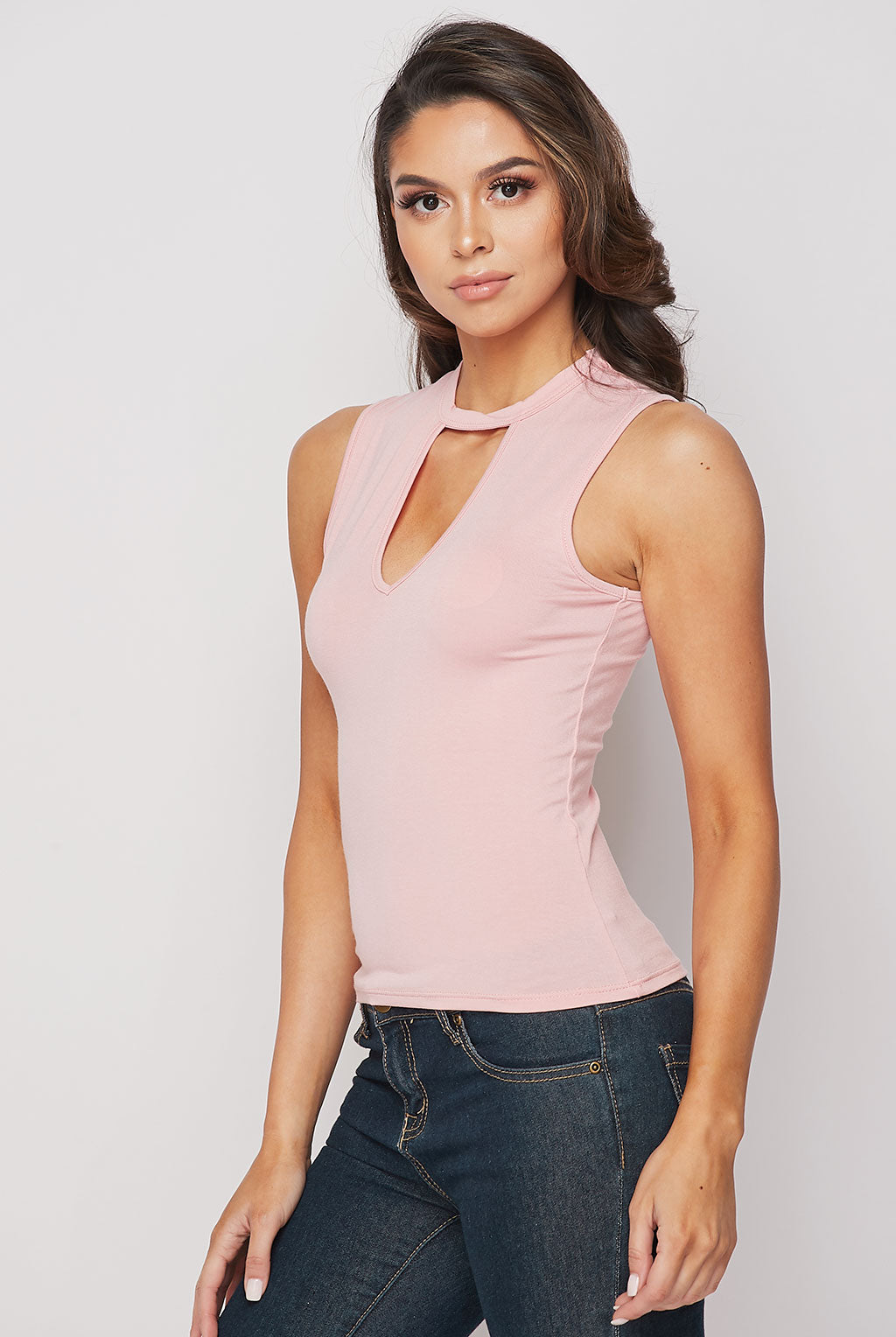 Teeze Me | Sleeveless Mock Neck Cutout Top | Pink