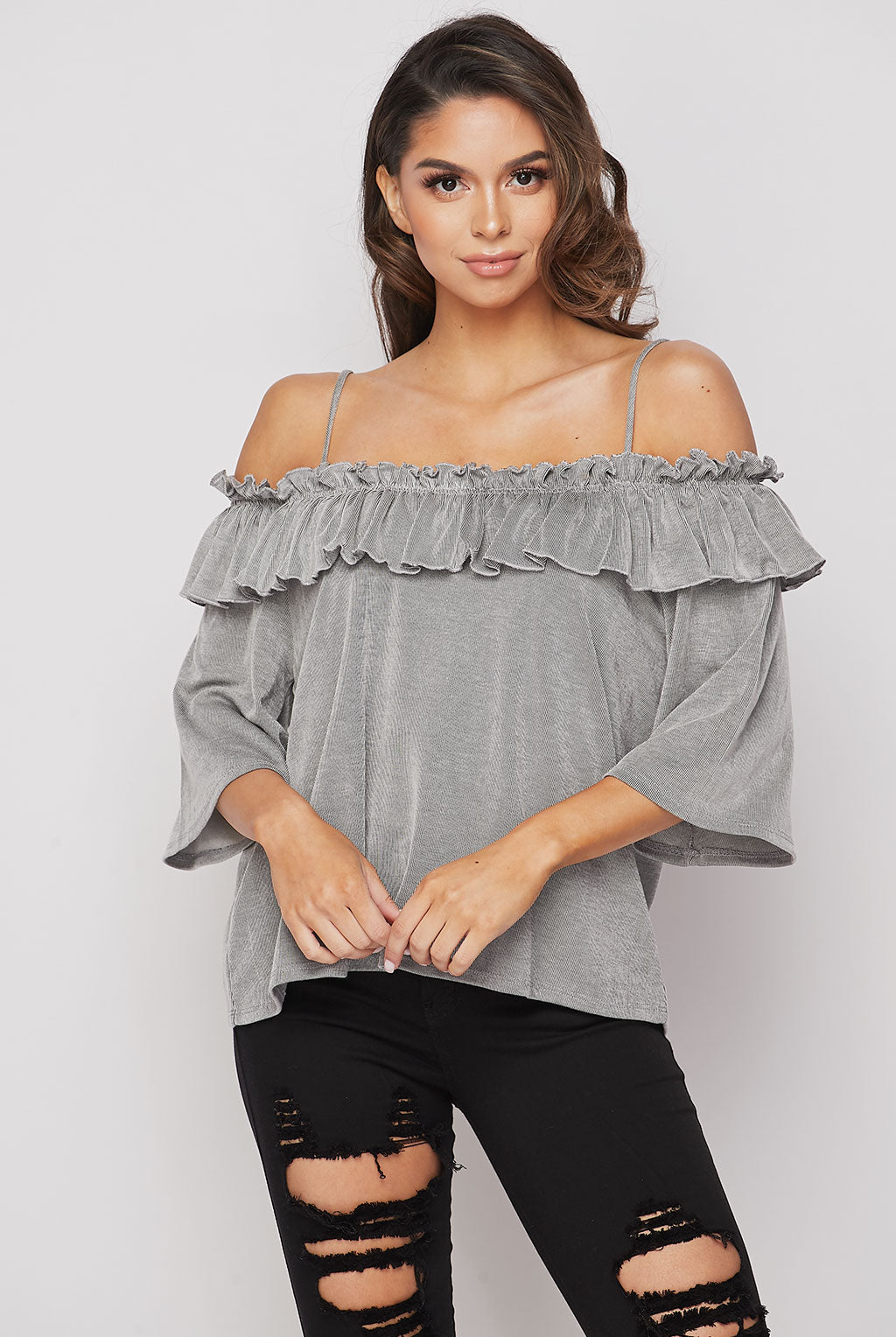 Teeze Me | Off Shoulder ¾ Bell Sleeve Ruffled Knit Top  | Grey