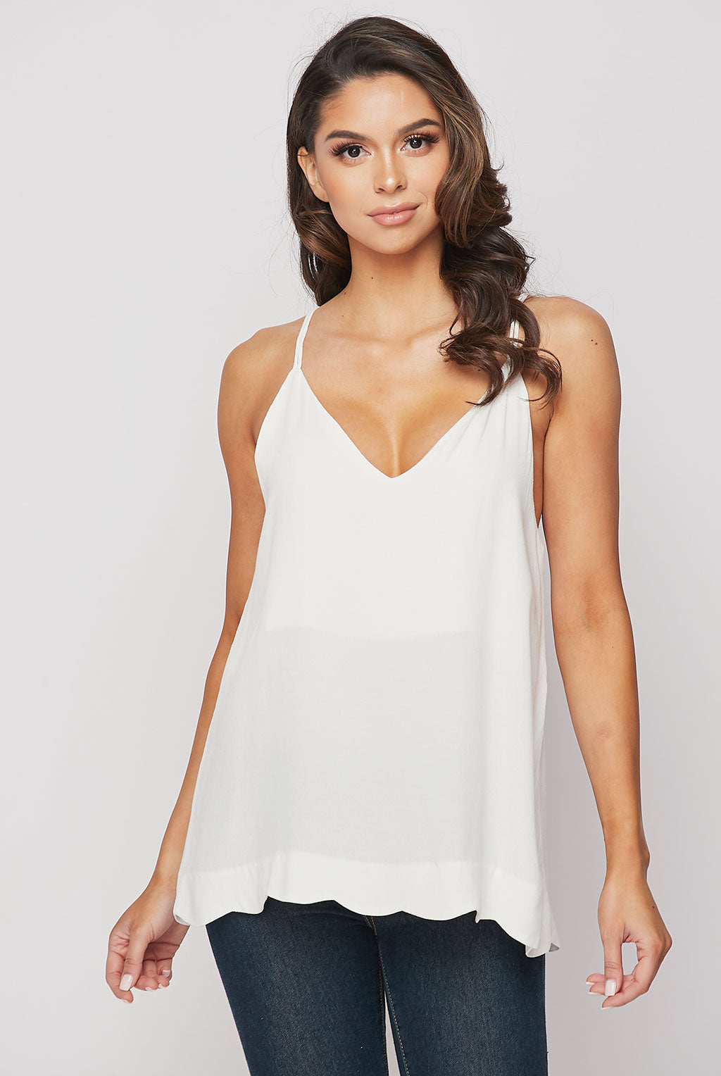 Teeze Me | Strappy Spaghetti Scallop Hem Cami Top | Ivory