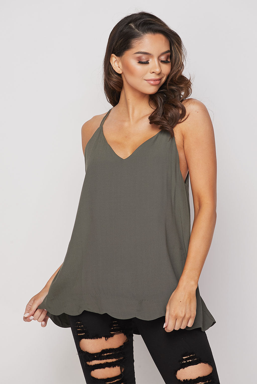Teeze Me | Strappy Spaghetti Scallop Hem Cami Top  | Olive