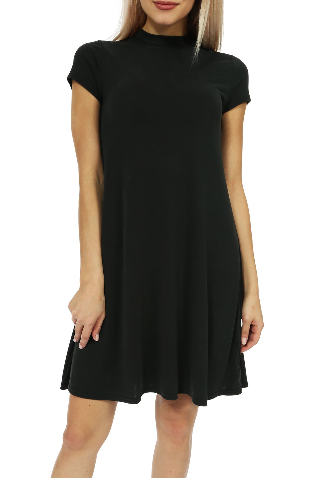 Teeze Me | Cap Sleeve Mock Neck Loose T-Shirt Dress | Black