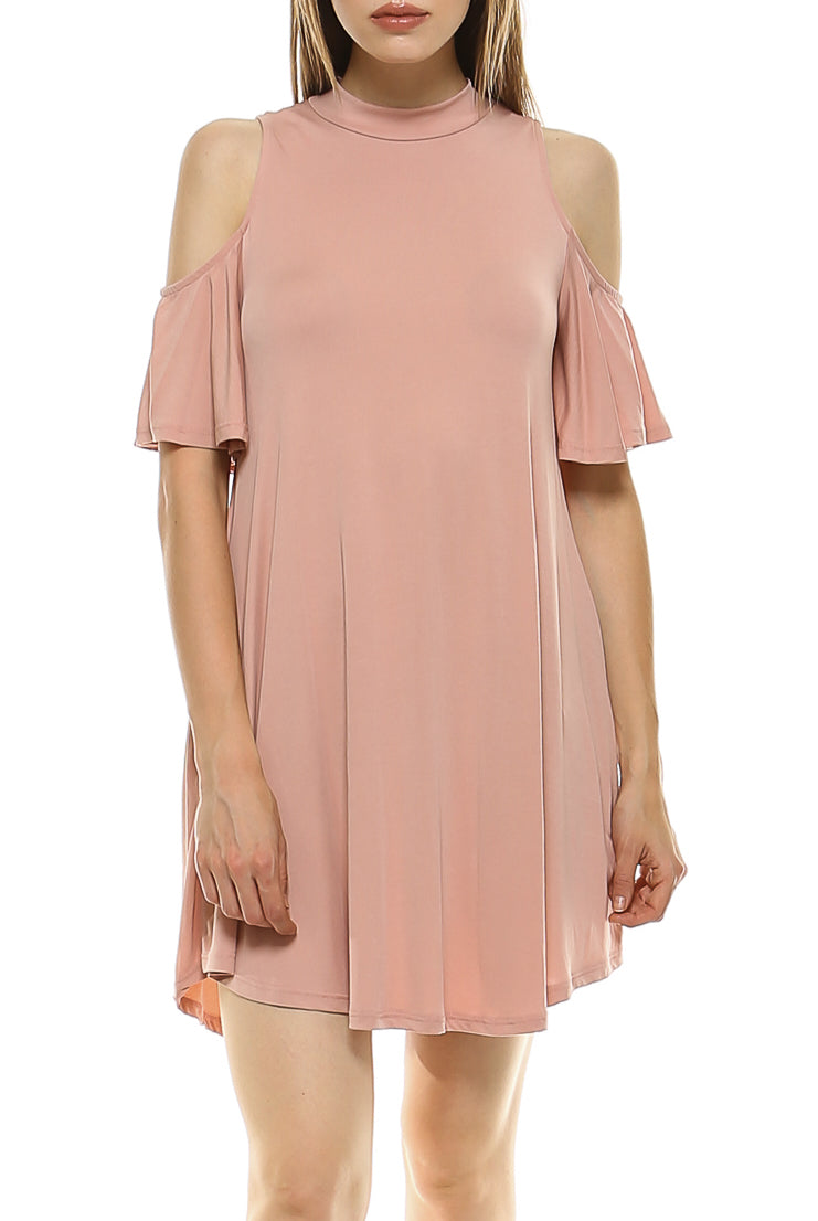 Teeze Me | Short Sleeve Cold Shoulder High Neck Swing Dress  | Blush