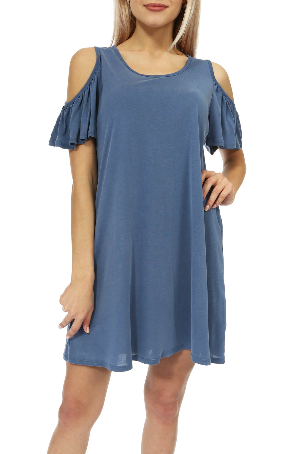 Teeze Me | Short Sleeve Scoop Neck Cold Shoulder Swing T-Shirt Dress | Blue