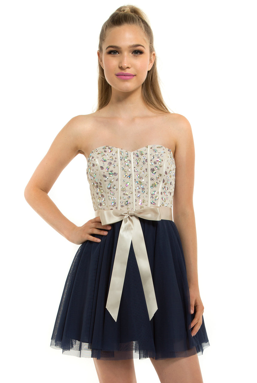 Teeze Me | Queen Colleen Strapless Corset Jewel Beaded Full Tulle Skirt Party Dress | Champagne/Navy - Teeze Me