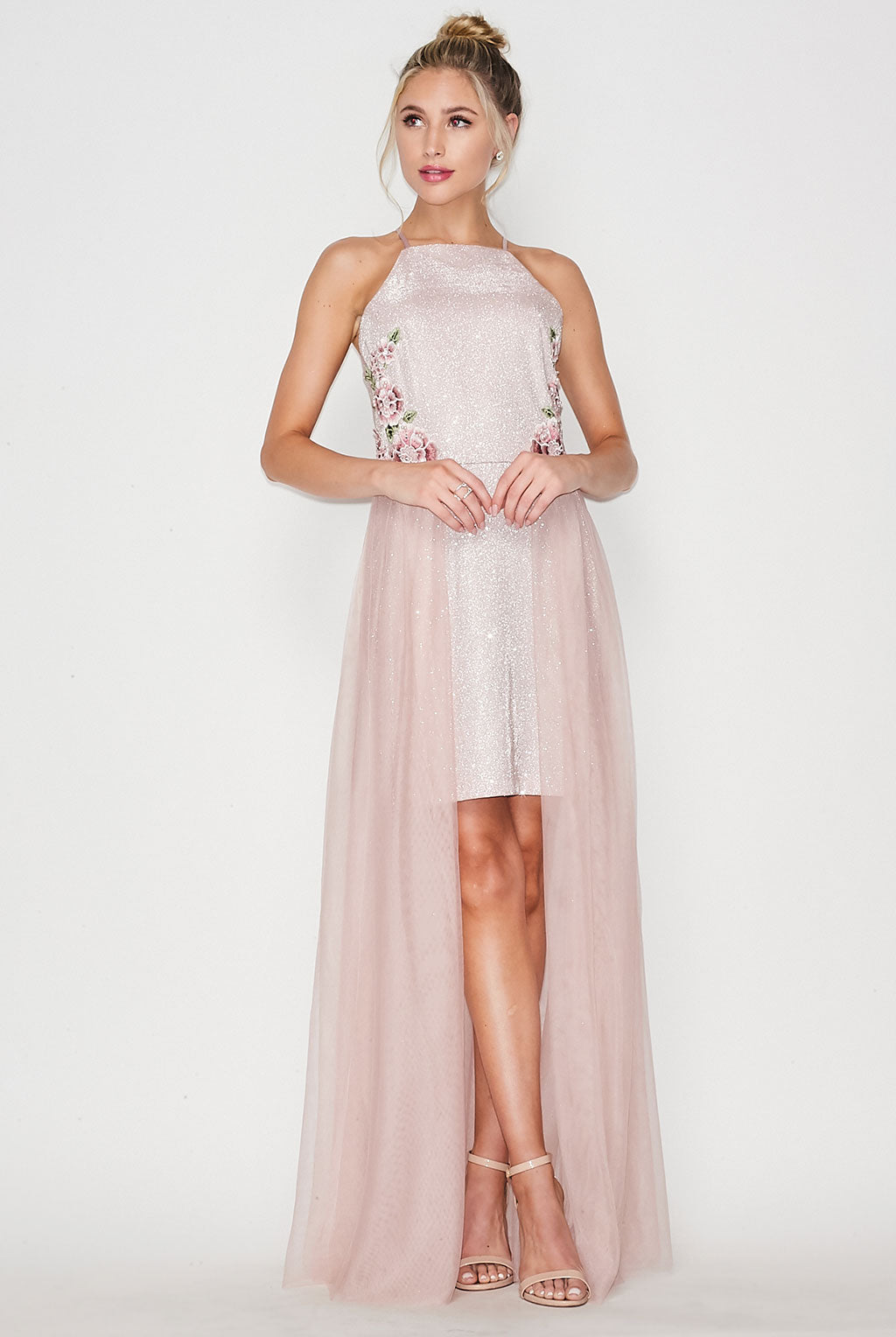 Teeze Me | Halter Top Embroidery Side W/ long Side Mesh Dress | Blush