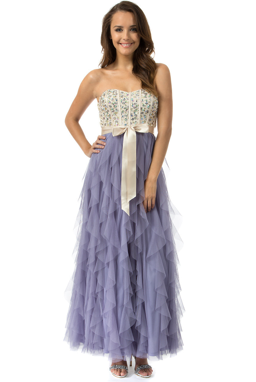 Teeze Me | Queen Colleen Strapless Corset Jewel Beaded Full Tulle Ruffle Skirt Party Dress | Cham/Lilac | Teeze Me Juniors Apparel