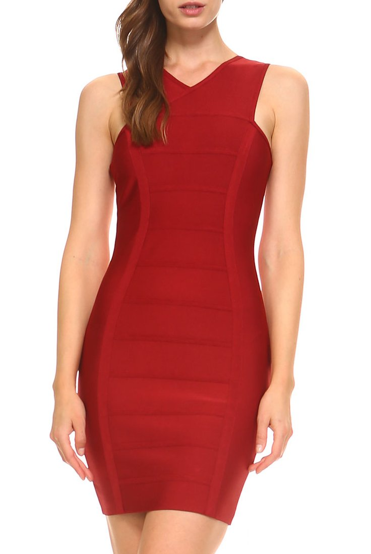 Teeze Me | Sleeveless Bandage Dress  | Berry
