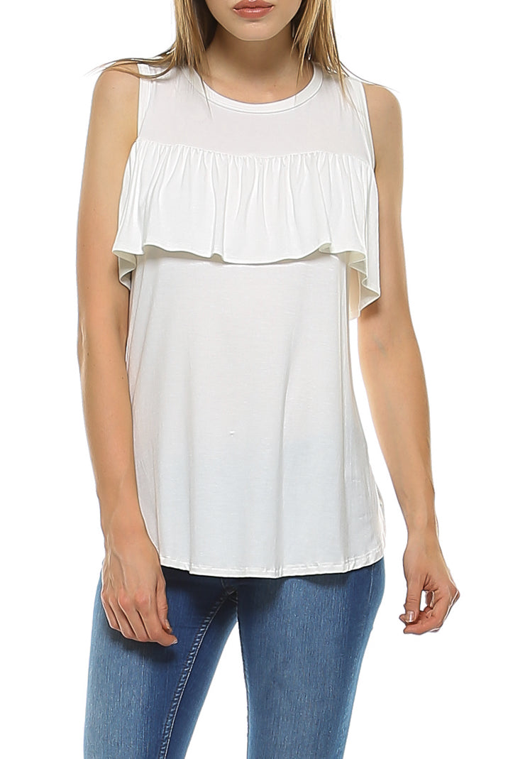 Teeze Me | Short Sleeve Cold Shoulder Ruffle Blouse Top | Ivory