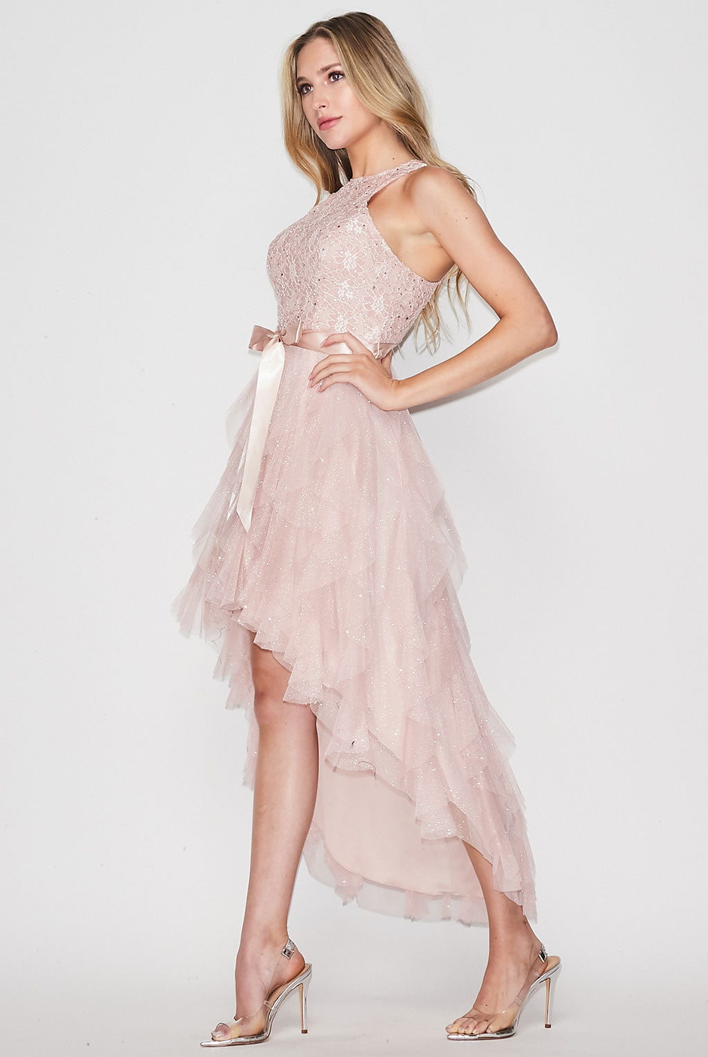 Teeze Me | Metallic Lace Glitter Mesh High Low Petal Dress | Blush