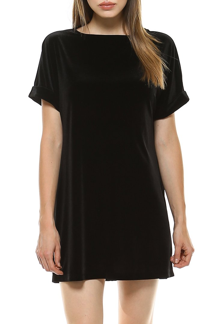 Teeze Me | Rolled-Up Short Sleeve Round Neck Velvet Dress | Black