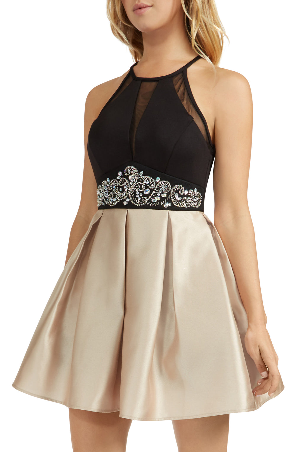 Teeze Me | Sleeveless Halter Top Illusion V Front Beaded Empire Waist Party Dress With Pockets  | Black/Gold