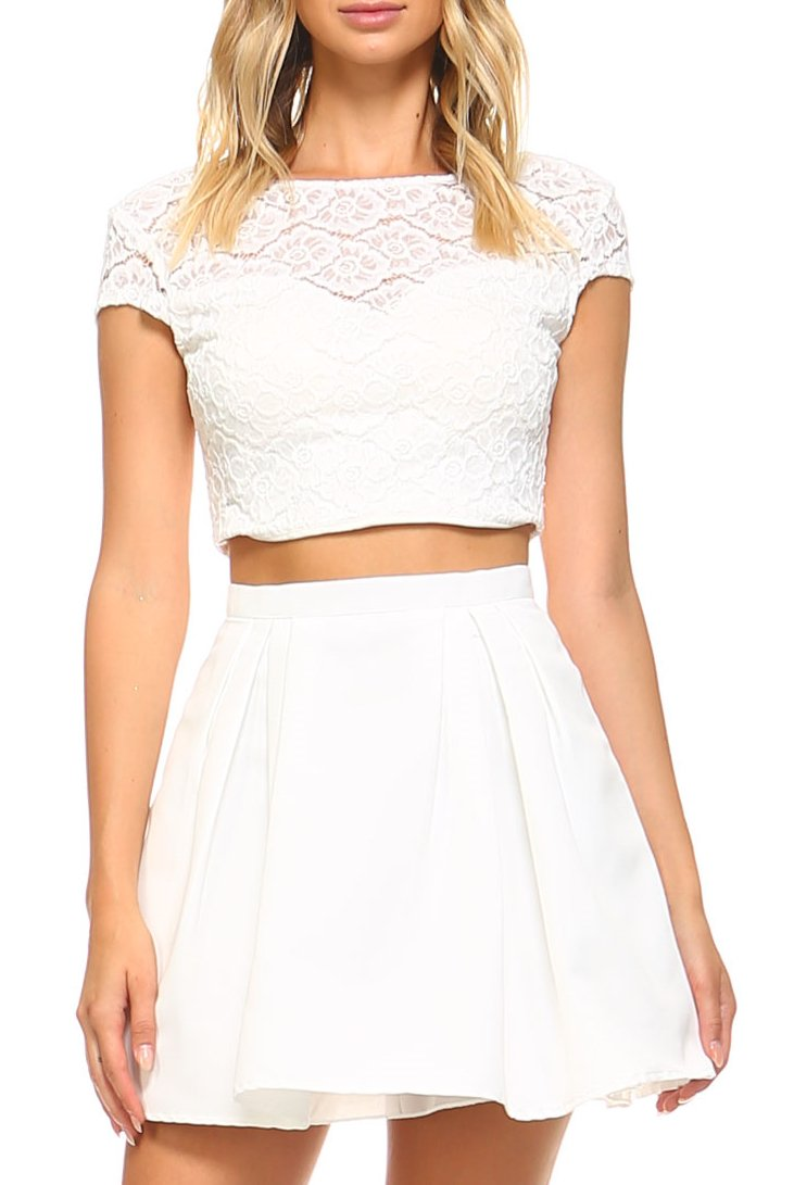 Teeze Me | Two-Piece Cap Sleeve Illusion Lace Top and Pleated Party Skirt Dress  | Off-White
