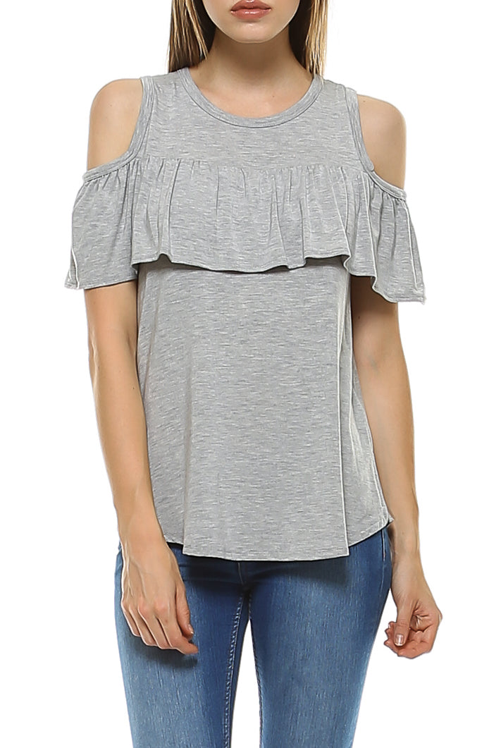 Teeze Me | Short Sleeve Cold Shoulder Ruffle Blouse Top | Heather Grey