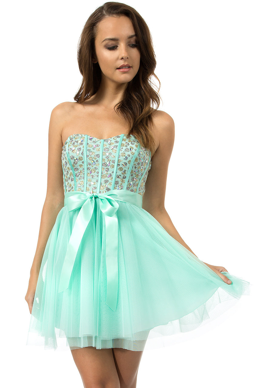 Teeze Me | Queen Colleen Strapless Corset Jewel Beaded Full Tulle Skirt Party Dress | Mint - Teeze Me Juniors Apparel