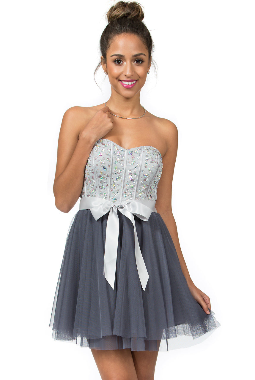 Teeze Me | Queen Colleen Strapless Corset Jewel Beaded Full Tulle Skirt Party Dress | Grey/Charcoal | Teeze Me Juniors Apparel