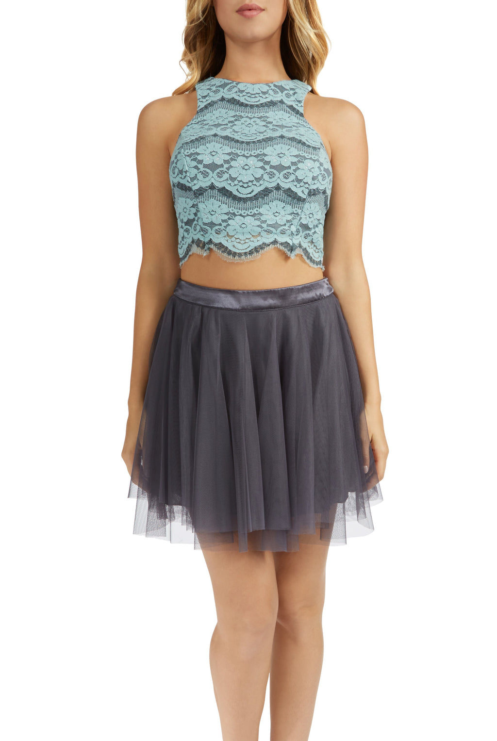 Teeze Me | Halter Lace Top and Mesh Party Skirt Two-Piece Set | Sage/Charcoal