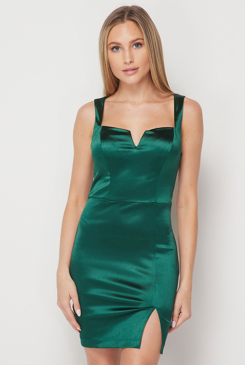 Teeze Me | Sleeveless V Neck Satin Short Dress | Hunter Green