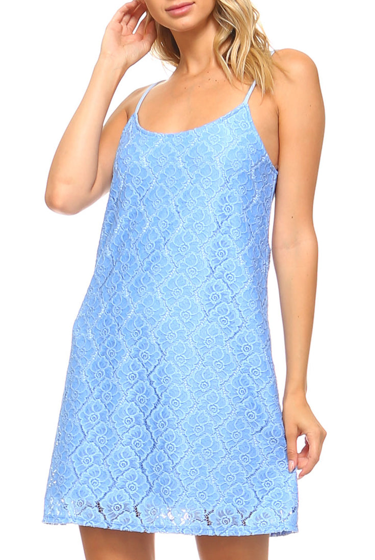 Teeze Me | Sleeveless Spaghetti Strap Scoop Neck Floral Lace Shift Dress  | Blue